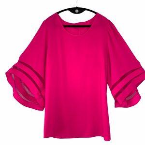 Umgee Mesh Burnout Bell Sleeve Hot Pink top
